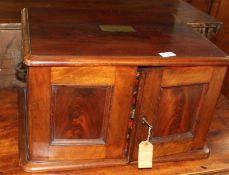 19th century mahogany cutlery canteen, two panelled doors enclosing four fitted drawers (void), 50cm