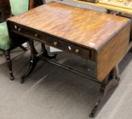 Regency period mahogany sofa table, two drop flaps fitted on either side with drawers and dummy