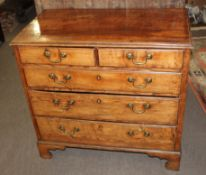 18th century oak chest with moulded edge over two short and three full width graduated drawers on