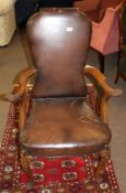 Set of eight early 20th century mahogany framed brown leather upholstered dining chairs in the
