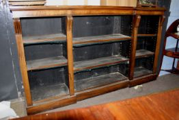 19th century mahogany bookcase with moulded edge, fitted adjustable shelving, 201cm wide