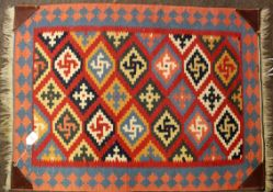 Mid/late 20th century Kelim rug with diamond shaped panels to the centre, multicoloured, 64cm x 90cm