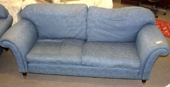 Pair of good quality modern blue upholstered Chesterfield style sofas, 220cm wide