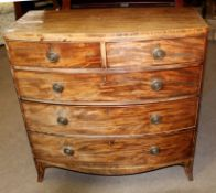 Early 19th century mahogany bow fronted chest of two short and three full width graduated drawers on