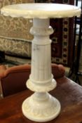 Modern faux marble circular pedestal table with reeded column support, 37cm diam