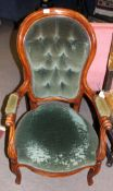 Victorian mahogany stained gents chair with green button back upholstery