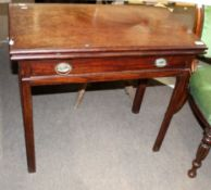George III period mahogany fold-top tea table with full width frieze drawer on chamfered supports,