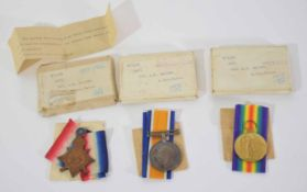WWI medal trio group impressed to D/11039371 Pte A R Gander of Army Cyclists Corps to include 1914-