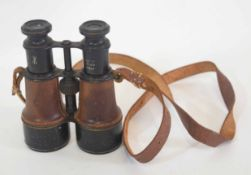 Pair of MKV wide binoculars No 17601, with leather strap and leatherwork to optic, also with War