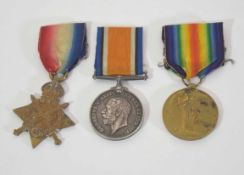 WWI medal trio inscribed to 3940 Pte C Broad of Army Cycling Corps to include 1914-15 Star, War