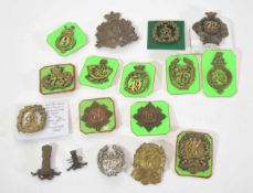 Quantity of 16 various Glengarry cap badges to include first type 1874 to 1881 72nd Regiment of Foot