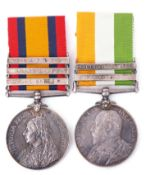 Boer War pair comprising Queen's South Africa medal (3rd type) with three clasps, Cape Colony,