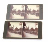 Pair of WWI Western Front stereograph scenes depicting British Cycling Battalion en route to war