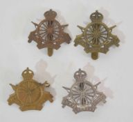 Quantity of four WWI Army Cyclists Corps cap badges to include one officer's silver example, (4)