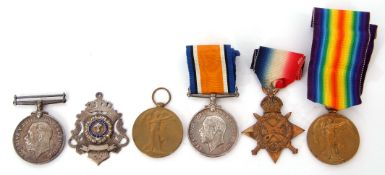 Presumed family group of Great War medals comprising three No 47806 Pte J S Lambert of the Suffolk