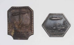 Pair of 1930s German Zeppelin commemorative badges to include badge for Frankfurt Airport with