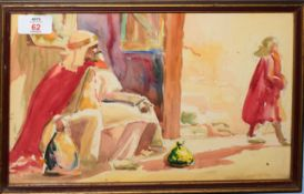 Orientalist School (19th/20th Century), Study of Arabs, watercolour, 19 x 32cm