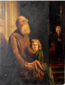 After J Dyckmans (19th Century), The Blind Beggar, oil on board, 29 x 22cm, unframed
