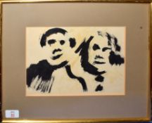 Follower of Josef Herman, Head Studies, mixed media, 18 x 27cm
