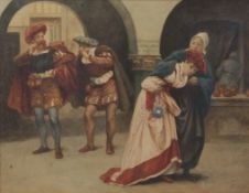 Alfred Walter Bayes (1832-1909), Theatrical scene with figures in period costume, watercolour,