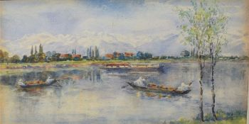 Indian School (19th/20th Century), River Scene with Figures in Boats, watercolour, 16 x 26cm