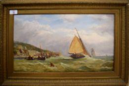 English School (19th Century), Seascape, oil on board, 28 x 49cm