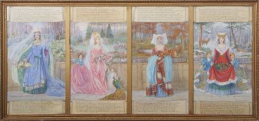 "Christine M Wells, ABWS (19th/20th century), ""The Four Seasons"", set of four watercolours in one"