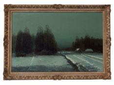 AR Wiktor Kozecki (1890-1980), Winter landscape at night, oil on canvas, signed lower left, 60 x
