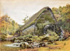 Charles L Saunders (19th Century), Old Mill Chagford near Exeter, watercolour, signed lower left