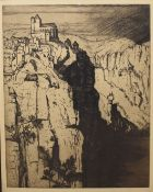H R Wilson (20th Century), Continental Mountain Landscape, black and white etching, signed in