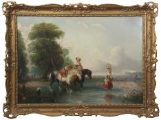 Attributed to William Shayer (1788-1879), Crossing the Ford, oil on canvas, 52 x 75cm