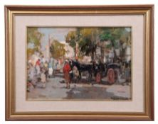 Italian School (20th century), Market place, oil on board, indistinctly signed lower right, 22 x