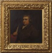 "After Joseph Wright of Derby (1734-1777), ""Erasmus Darwin"", oil on panel, 24 x 22cm"