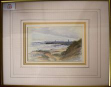 A Hale (19th/20th Century), 'St Andrews from the Links', watercolour, signed lower right and
