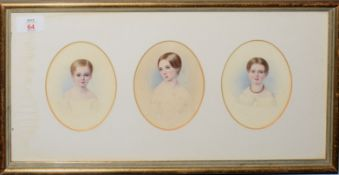English School (Mid 19th Century), Portraits of 3 Sisters from the West Family circa 1840, 3