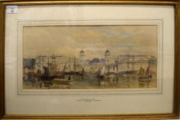 George Haydock Dodgson (1811-1880), 'Greenwich', pencil and watercolour, 22 x 47cm