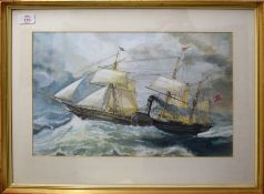 G Jones (19th/20th Century), Paddle Steamer in Rough Sea, watercolour and gouache, signed lower