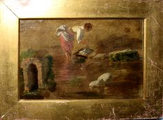 English School (19th Century), River Scene with Washerwoman, oil sketch on board, 15 x 22cm