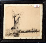 AR Charles Mayes Wigg (1889-1969), Broadland Scene with Windmill, black and white etching, 22 x