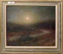 Walter Dexter, RBA, (1876-1958), Moonlit Landscape, oil on canvas, monogrammed lower right, 24 x