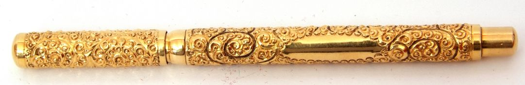 "Mabie Todd ""The Swan Pen"" rolled gold fountain pen, snail pattern with rolled gold plain caps, two"