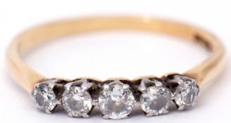 Five stone diamond ring, line set featuring five small graduated diamonds, 0.30ct total diamond