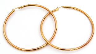Pair of large 375 stamped hoop earrings, plain polished design, 7cm diam, 5.7gms