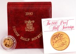 A cased 1980 proof half-sovereign