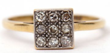 Art Deco diamond cluster ring featuring a square panel set with nine small diamonds, panel size