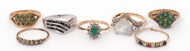 Mixed Lot: seven various 9ct gold dress rings, two highlighted with small diamonds, gross weight