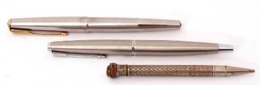 Two Parker fountain pens, one with 14K nib, together with a vintage metal pencil (3)
