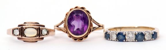 Mixed Lot: 9ct gold and amethyst dress ring, Birmingham 1971, a 9ct gold diamond and pale sapphire