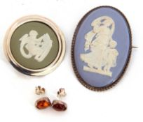 Mixed Lot: oval shaped Wedgwood light blue jasperware brooch depicting a goddess and a cherub, a