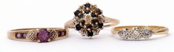 Mixed Lot: three stone small diamond ring stamped 9ct and Plat, together with two 9ct gold dress